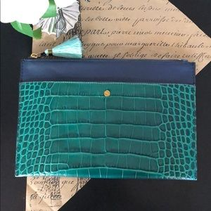 J. Crew Large Pouch I'm stamped croc leather